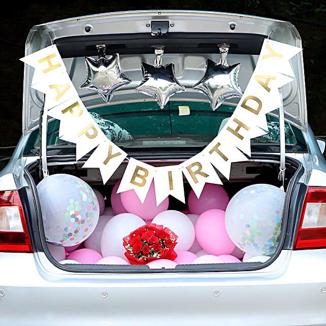 Birthday Surprise Car Boot Decor: Balloon Decoration Ideas