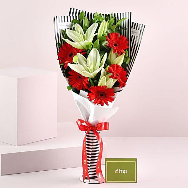 Gerberas Asiatic Lilies Bouquet: Mixed Flowers