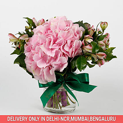 Imported Light Pink Hydrangea Flowers in Glass Vase: Premium & Exclusive Gift Collection