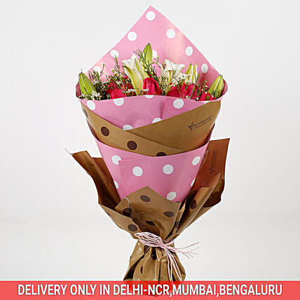 Pink Roses Oriental Lilies Bouquet: Mothers Day Premium Gifts