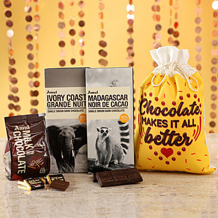 Delicious Amul Chocolates Gunny Bag: Apology Gifts