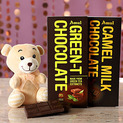 Exotic Amul Chocolates & Teddy Bear: Gifts for Chocolate Day