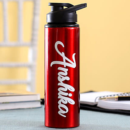 Personalised Name Red Bottle: Water Bottles Gifts