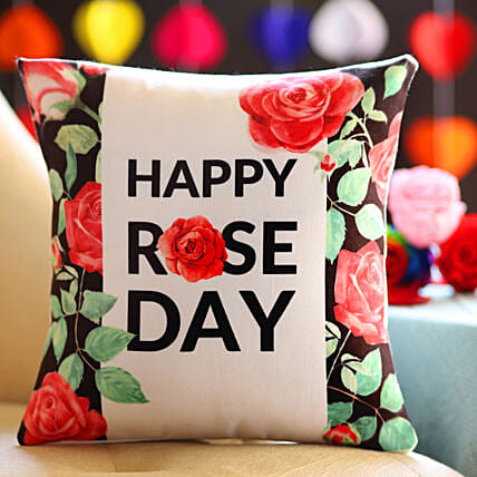 Pretty Rose Day Greetings Cushion: Rose Day Gifts
