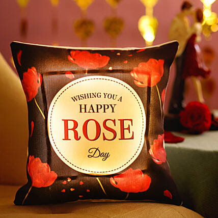 Rose Day Greetings Printed LED Cushion: Gifts for Rose Day