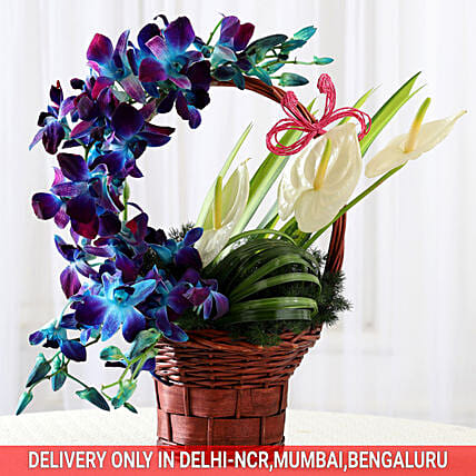 Basket of Purple Orchids & Anthuriums: Gift For Boss