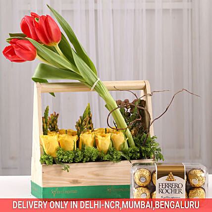 Basket of Roses & Tulips with Ferrero Rocher: Tulips