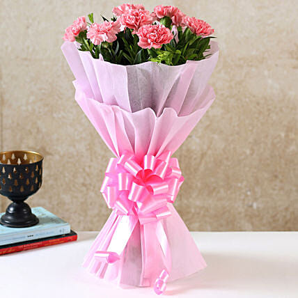 Beautiful Pink Carnations Bouquet: Birthday Flowers for Girlfriend