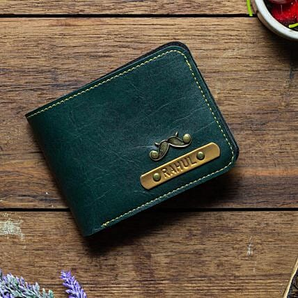 Personalised Forest Green Mens Wallet: Handbags and Wallets
