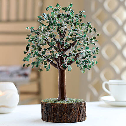 "Green Aventurine Gemstone Wishing Tree 12.5"": Christmas Tree"