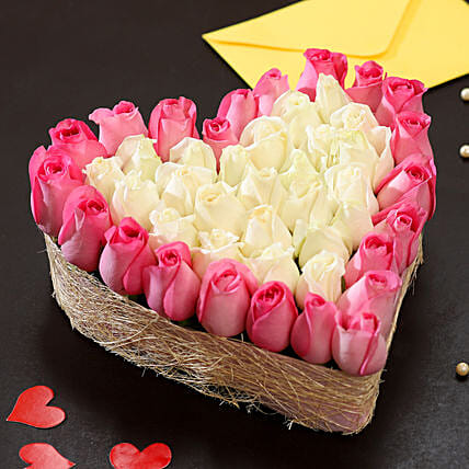 Pink & White Roses Heart: Hug Day Gifts