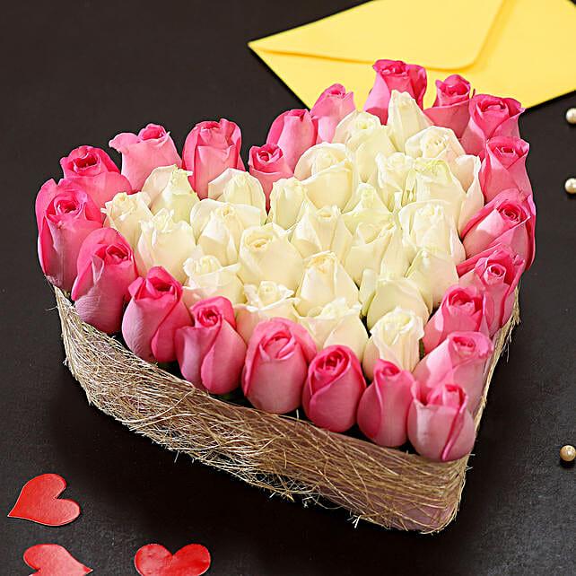 Pink & White Roses Heart: Heart Shaped Flower Arrangements