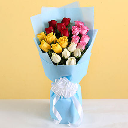 Vibrant Roses Bouquet: Mixed Colour Flowers