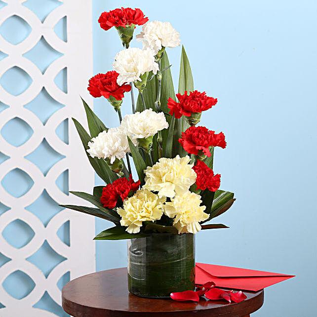 Carnations Vase Arrangement: Flower Arrangements