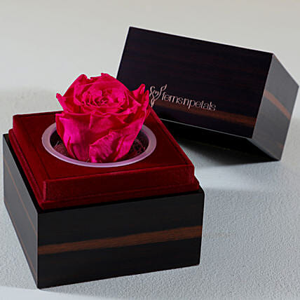 Charming Pink Forever Rose In Wooden Box: Anniversary Flowers
