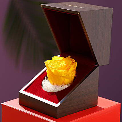 Charming Yellow Forever Rose In Wooden Box: Flowers for Valentines Day