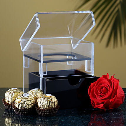 Eternal Red Forever Rose With Ferrero Rocher: Flowers with Chocolates