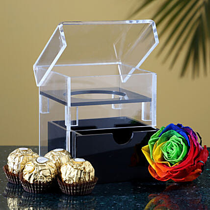 Multicolour Eternal Rose & Ferrero Rocher: Flowers with Chocolates