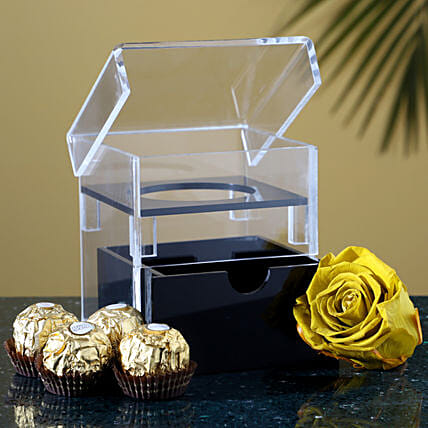 Olive Green Forever Rose & Chocolates Combo: Wedding Gifts
