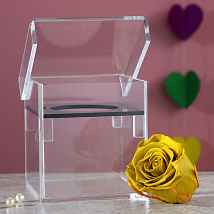 Olive Green Forever Rose In Acrylic Box: Wedding Gifts