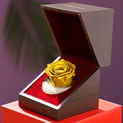 Olive Green Forever Rose In Wooden Box: Gifts for Wedding