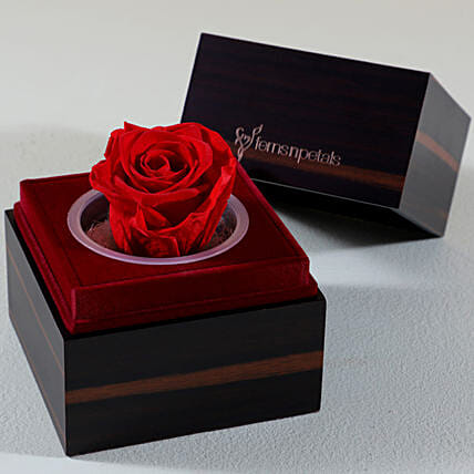 Red Eternal Forever Rose In Wooden Box: Best Gifts to India