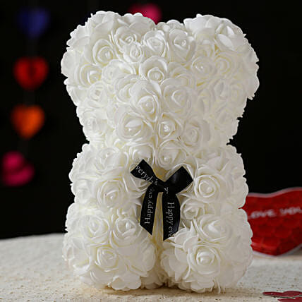 Foam Teddy Bear- White: Best Gifts to India