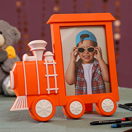 Personalised Orange Train Photo Frame: Personalised gifts for birthday