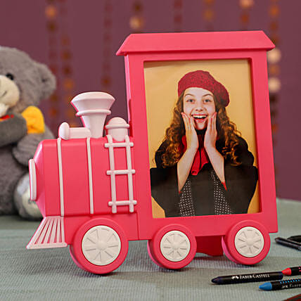 Personalised Pink Train Photo Frame: Personalised Photo Frames Gifts