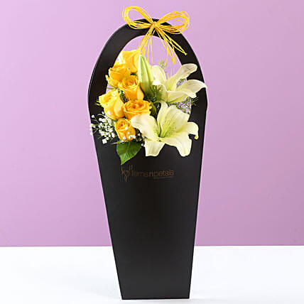 Yellow Carnation & Lily Arrangement: Send Lilies