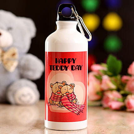 Happy Teddy Day Water Bottle: Teddy Day Gifts