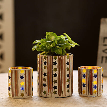 Syngonium Plant In Mosaic Art Pot & 2 Votive Holders: Boss Day Gifts