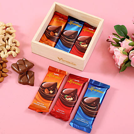 LuvIt Luscious Chocolates In Wooden Basket: Good Luck Gifts