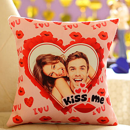 Kiss Day Special Personalised Cushion: Personalised Cushions for Valentine