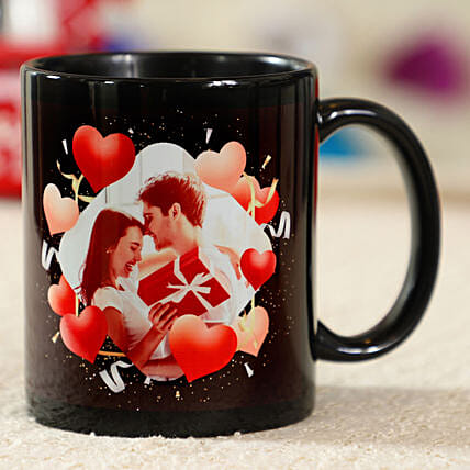 Red Hearts Personalised Black Mug: Valentine Personalised Mugs