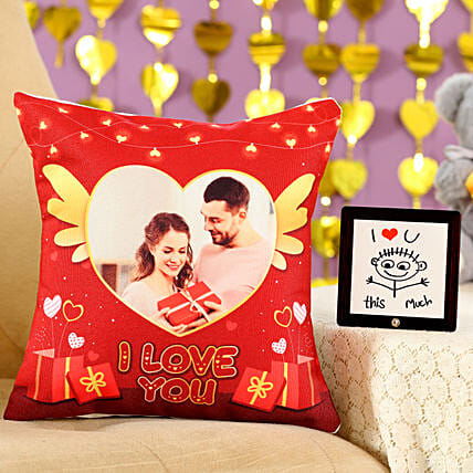 I Love You Cushion Table Top Combo: Personalised Gifts Combo for Valentine's Day