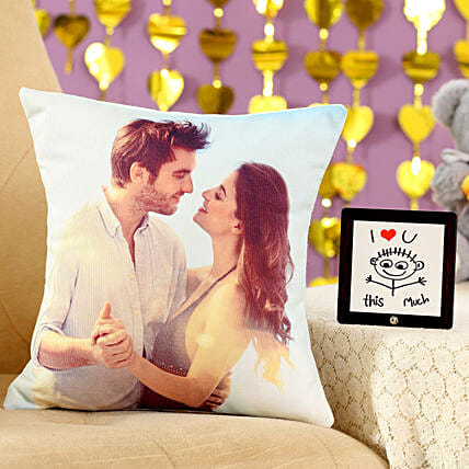 I Love You This Much Cushion Table Top Combo: Valentine Personalised Gifts