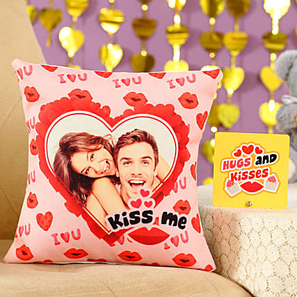 Kiss Me Cushion Table Top Combo: Personalised Gifts Combo for Valentine's Day