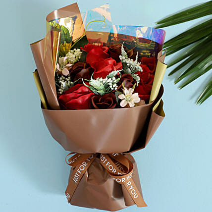 Red & Brown Artificial Flower Bouquet: Artificial Flowers