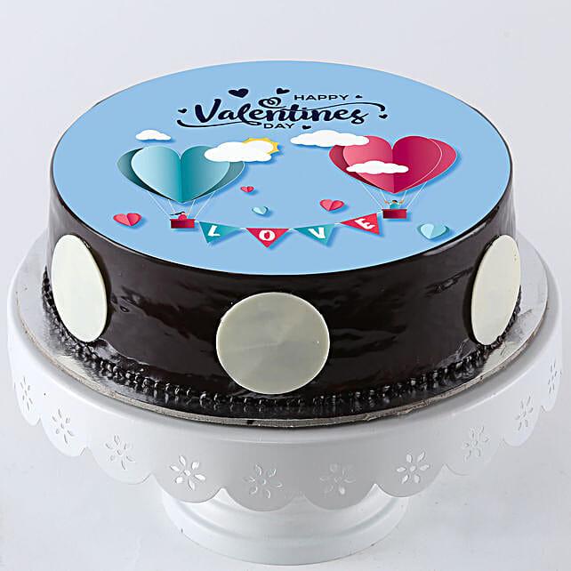 Hearts In Love Truffle Photo Cake: Valentine Chocolate Cake