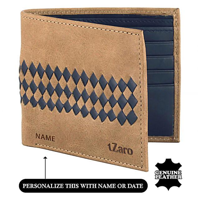 Men's Bi-Fold Tan & Blue Wallet: Handbags and Wallets