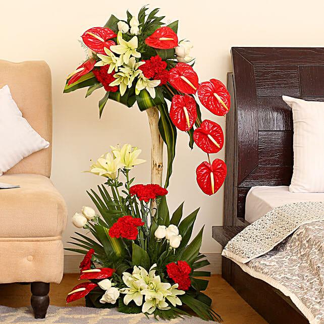 Lovely Red Flower Arrangement: Basket Arrangements