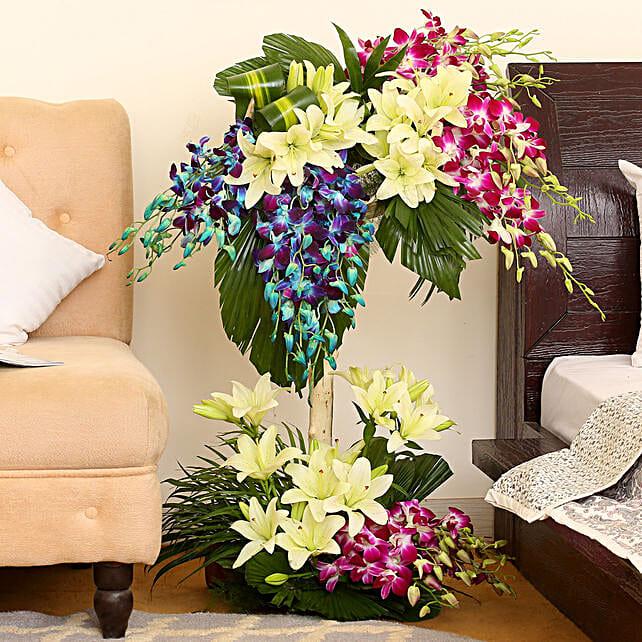 Arrangement Of Bright Flowers: Basket Arrangements