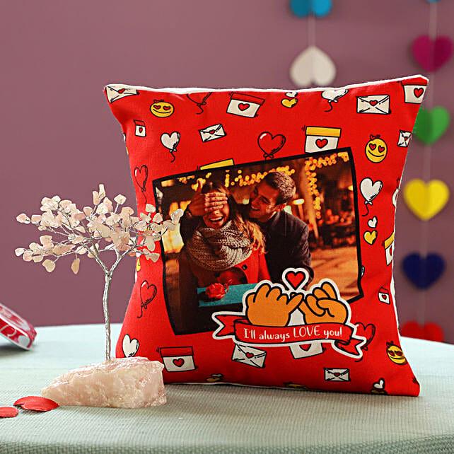 Rose Quartz Wish Tree & Personalised Promise Cushion: Personalised Gifts Combos