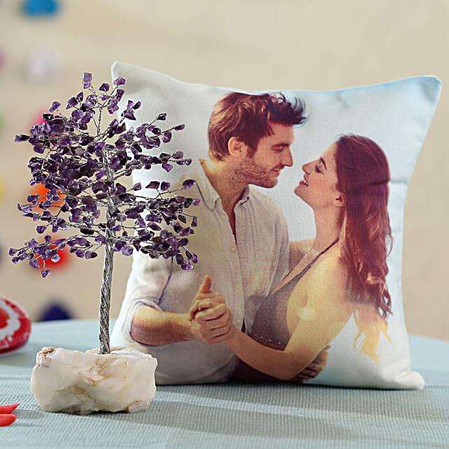Amethyst Wish Tree & Personalised Cushion: