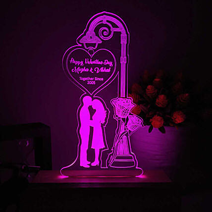 Couple In Love Personalised LED Lamp- Pink: