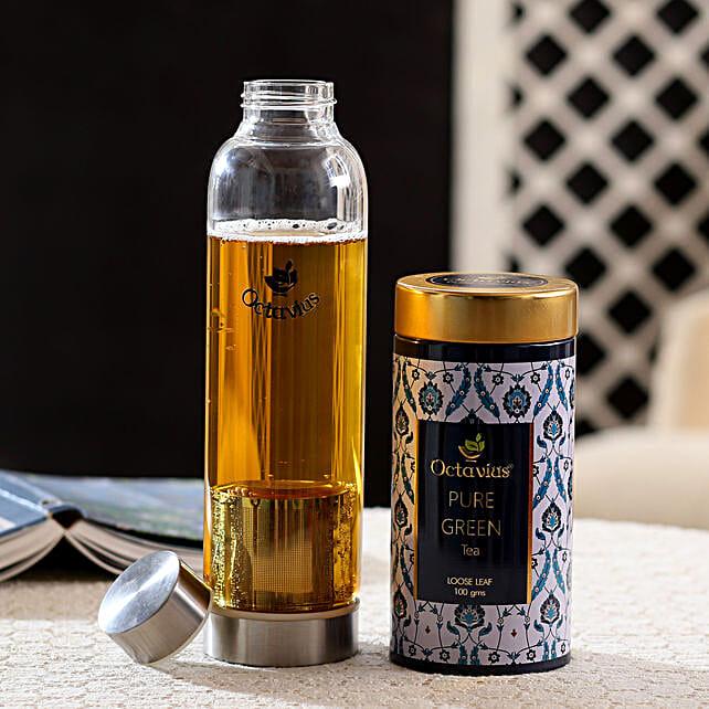 Green Tea & bottle Hamper: Singles Day Gifts