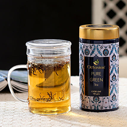 Tea Infuser Cup and Green Tea Hamper: Doctors Day Gift Hampers