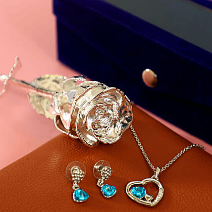 Silver Rose with Jewellery: Send Roses