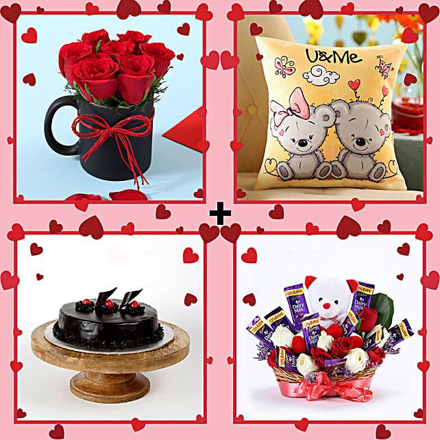 Teddy Love Valentine's Combo: Flowers & Teddy Bears